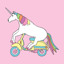 Unicorn riding a Vespa, 8x8 print