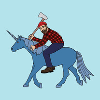Paul Bunyan on Babe the blue unicorn, 8x8 print