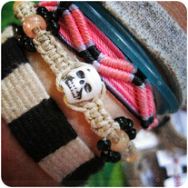 Hemp Bracelet Kit Skull with Orange Glow in the Dark Beads - Party Favor [1]