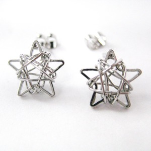 Mini 3D Starry Night Star Stud Earrings in Silver