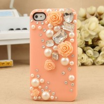 New Bling Crystal Sparkle Pink Roses Pearls Rhinestones iPhone Case