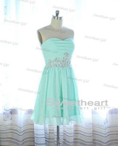 Sweetheart Girl | Light Blue A line Chiffon Sequined Short Prom ...