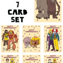 Unusual friends anniversary 7 card set #2