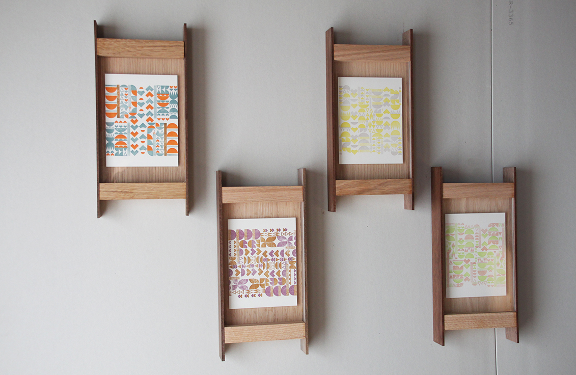 Original Picture Frames Yellow And Grey Letterpress Pattern Print With Handmade Frame