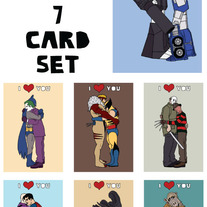 Enemies hugging I love you 7 card set
