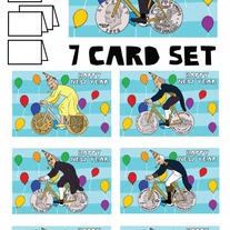 Coin wheeled bikes New Year 7 card set