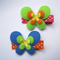 Butterfly clips, Kiwi & Blueberry