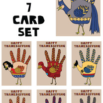 Hand turkey comics Thanksgiving 7 card set