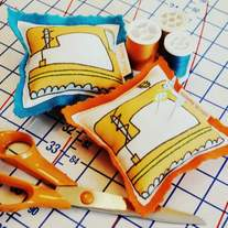 retro sewing machine pin cushion