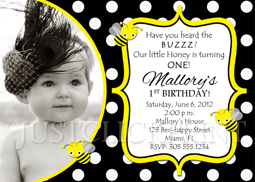 Bumble bee birthday party photo invitation printable just click bumble bee birthday party photo invitation printable filmwisefo