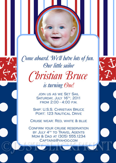 Little Sailor Nautical Birthday Photo Invitation - Printable