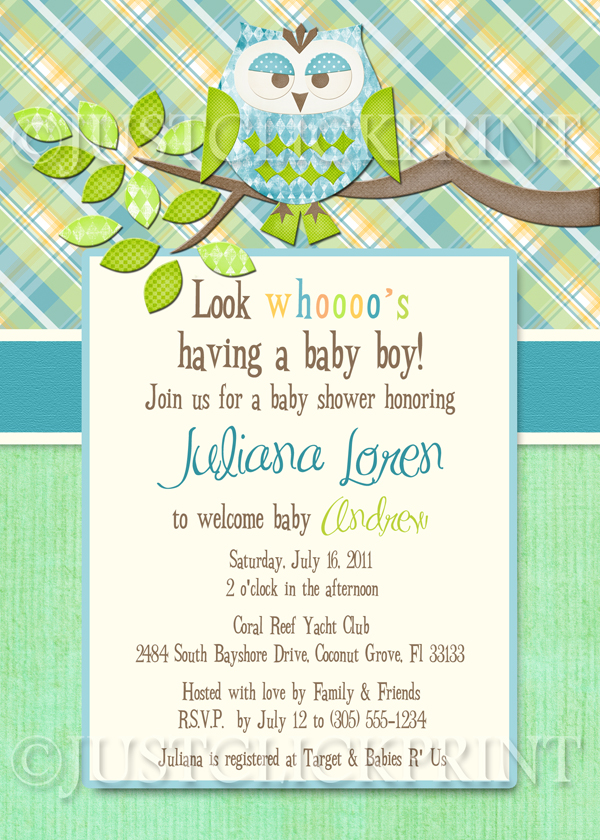 Boys Plaid Owl Look Whooos Having a Baby Shower Invitation Printable ...