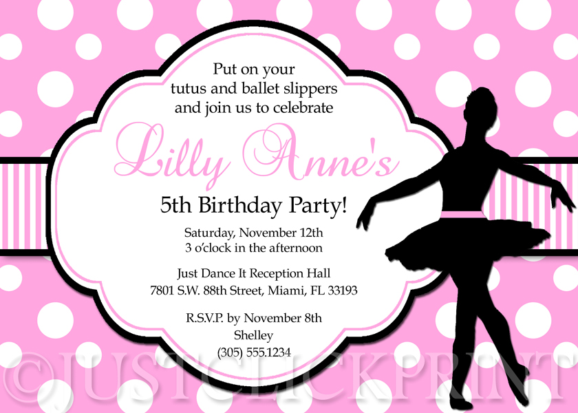 Ballet pink and black ballerina dancer girl birthday party ballet pink and black ballerina dancer girl birthday party invitation filmwisefo