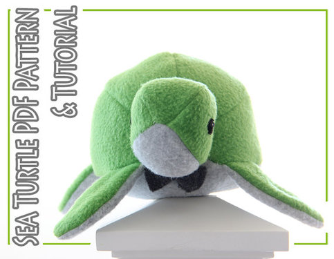 Plush Toy Sewing Pattern And Tutorial Fleece Sea Turtle