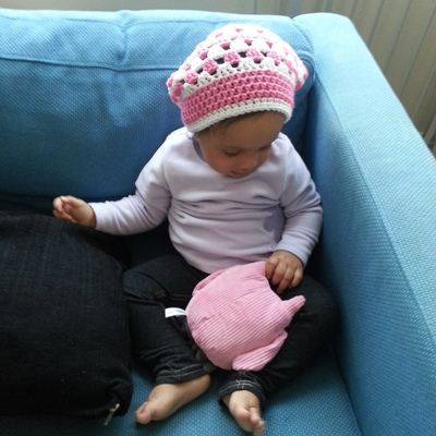 Child slouch hat in granny pattern