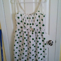 Mina White Dress with Green Polka Dots L