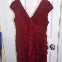 Adrianna Papell Red Tiered Dress Sz 10