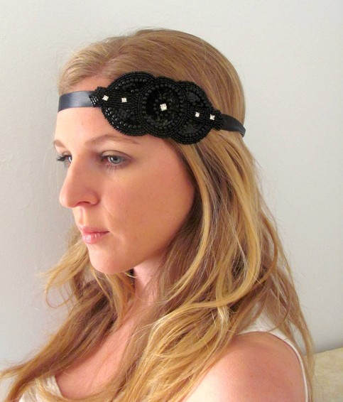 The Esther - Beaded and Rhinestone Tie Headband or Halo