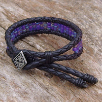 Black Bolo Cord Bracelet with Purple Beads