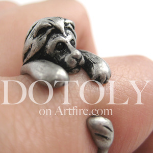 Miniature Lion Animal Wrap Around Ring in Silver - Sizes 4 to 9 Available