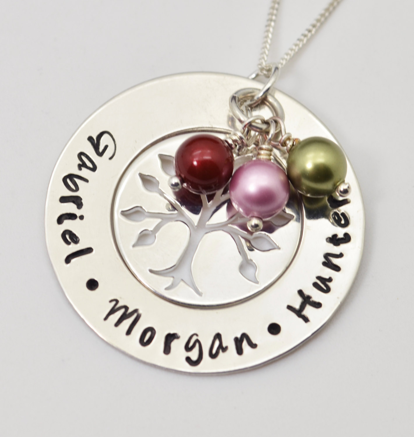 Personalized Mothers Family Tree Necklace Hand Stamped