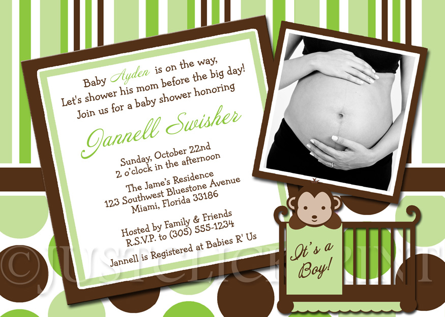 mod monkey green brown baby shower photo invitation printable just