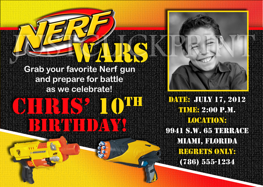 Nerf Gun Wars Birthday Photo Invitation Printable Just Click Print - Party invitation template: nerf war party invitation template