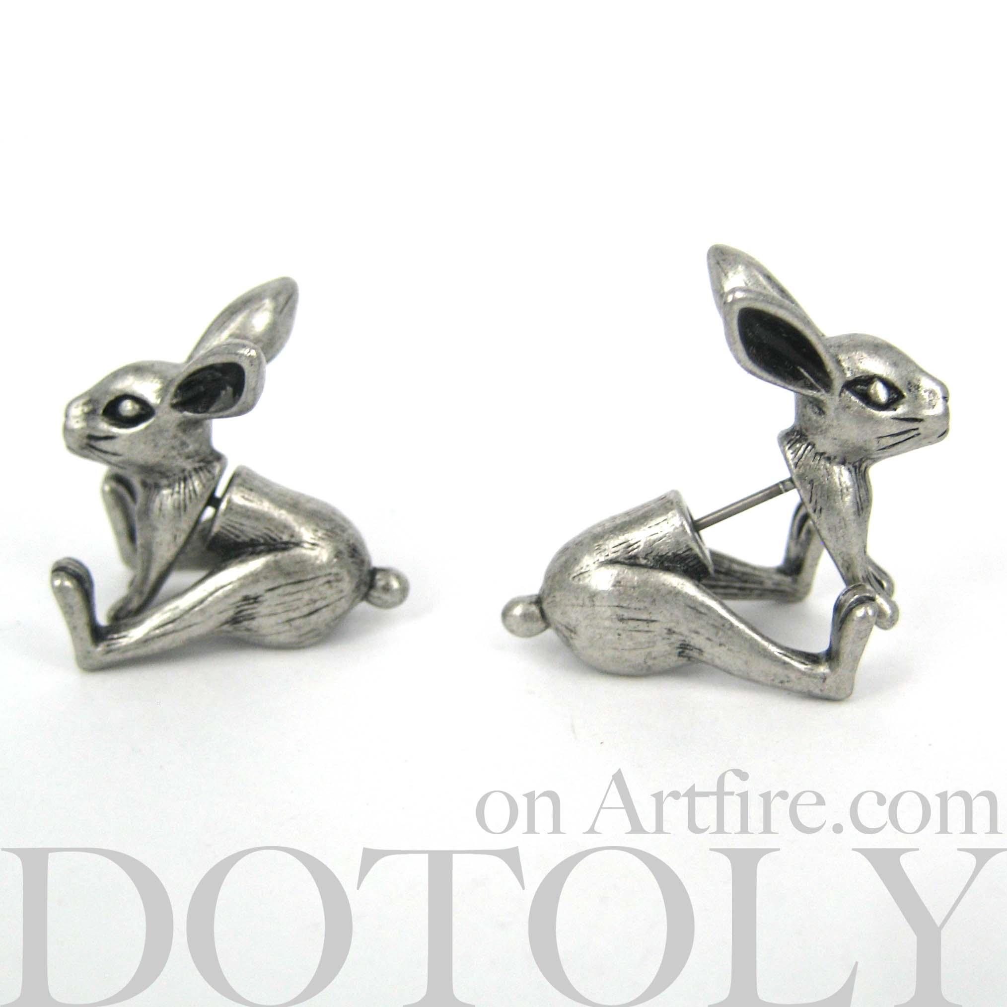 Fake Gauge Realistic Bunny Rabbit Animal Stud Earrings Dotoly