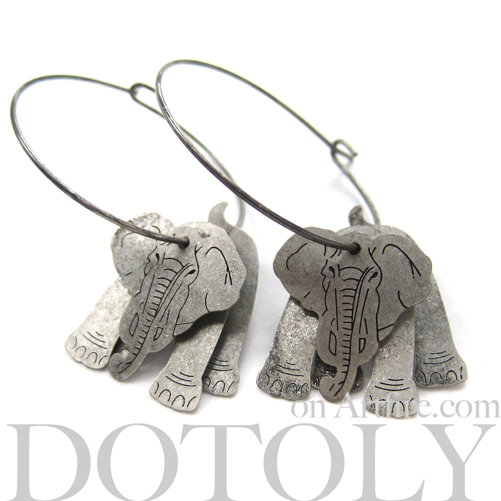 stud original elephant gauge products plug silver fake animal in shaped earrings unique thumbnail