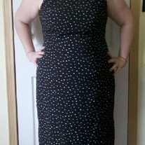Studio I Black Sleeveless Dress with White Polka Dots Sz 16W