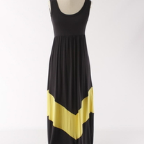 Colorblock Charcoal & Yellow Long Tank Chevron Stripe Maxi Dress