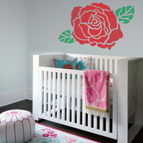 X Large size Rose Flower Garden Designer Pattern great for kids and nursery room Wall DIY Stencil Home Decor better then vinyl decals