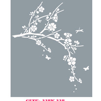 Butterfly Dragonfly Cherry Blossom Tree Oriental Decor  Wall Stencil