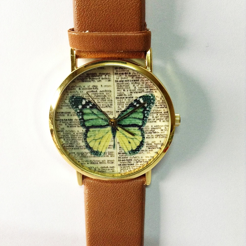 butterfly watch vintage dictionary print vintage style