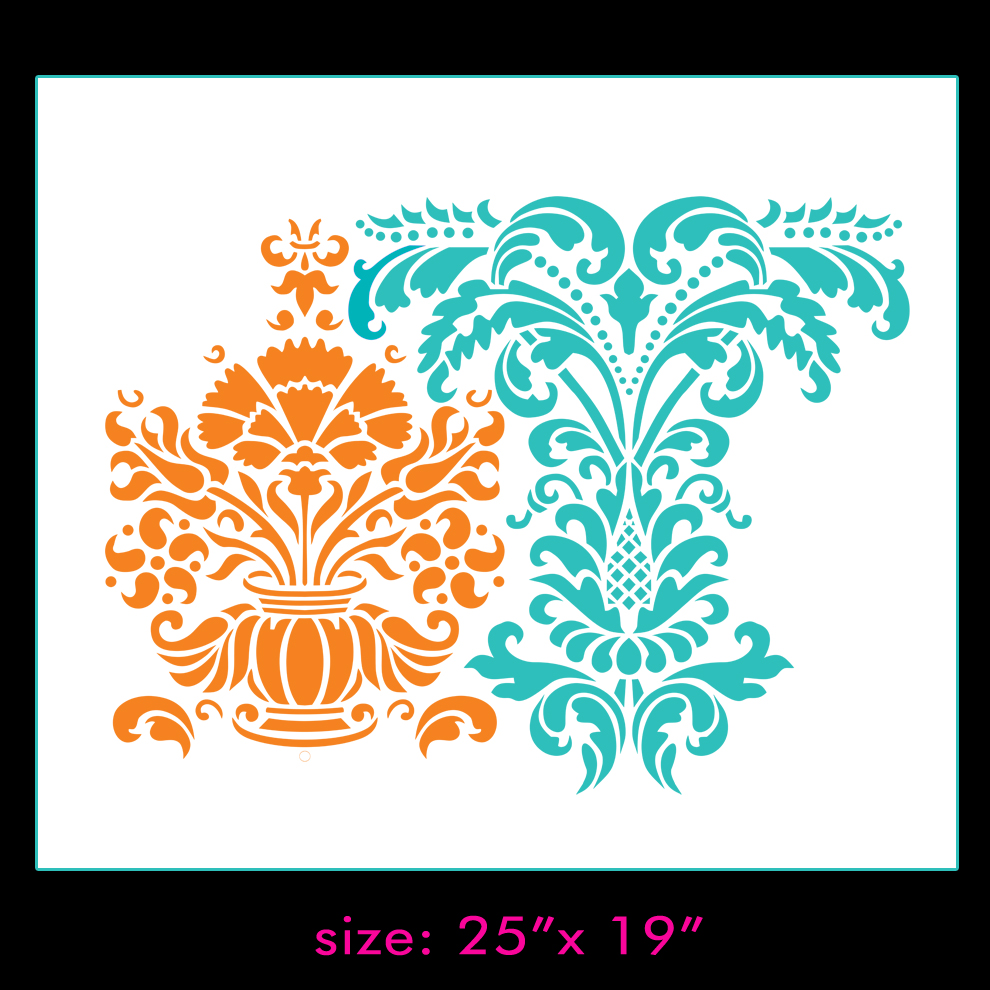 Anastasia Damask Pattern Wall Stencil Home Decor on Storenvy