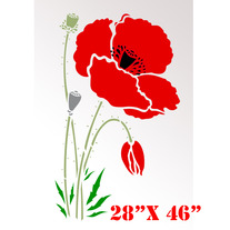 Poppy Red Large Flowers Pattern Wall Stencil Home Decor