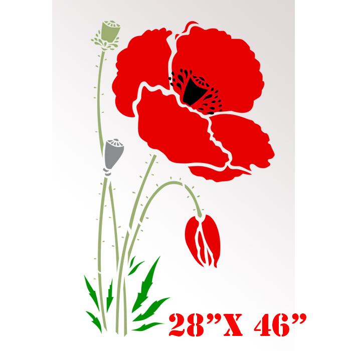Stencil Boss Poppy Red Large Flowers Pattern Wall