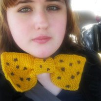 Yellow and Blue Knit Polka Dot Bowtie