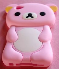 iPOD TOUCH 4G LIGHT PINK CUTE TEDDY BEAR 3D SILICONE RUBBER SOFT CASE COVER