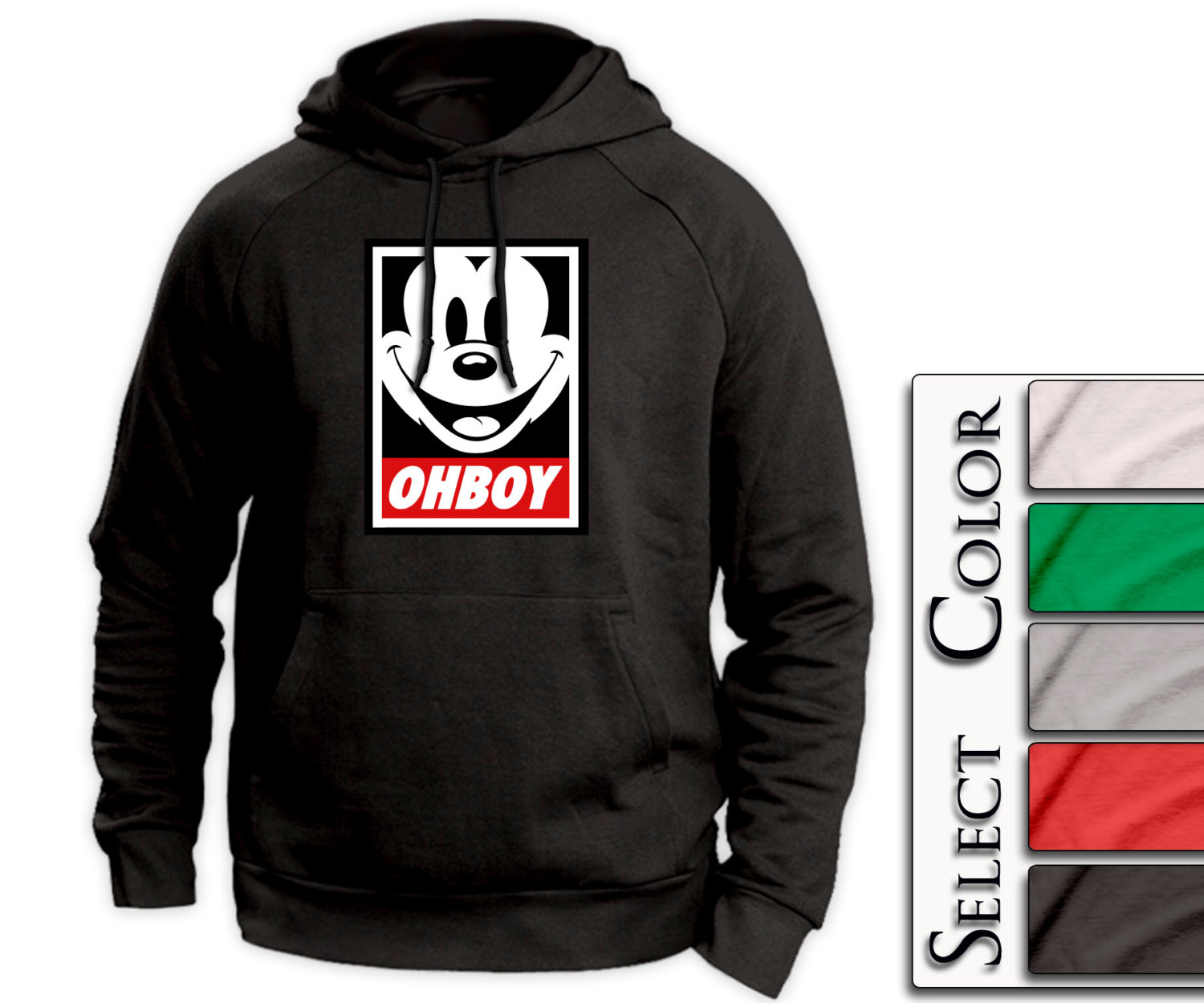 Ohboy Mickey Hoodie - mickey mousy obey style tshirt swag - A53