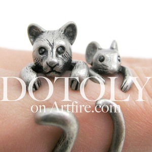 3D Kitty Cat Animal Wrap Around Ring in Silver - Sizes 5 to 9 Available