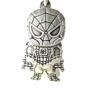 Cute Chibi Spiderman Themed Dangle Hoop Earrings in Silver