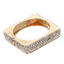 Gold Square/Circle Jeweled Bracelets