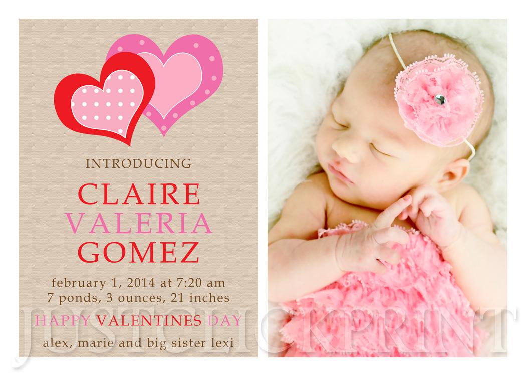 sweet hearts valentines day birth announcement printable  u00b7 just click print  u00b7 online store