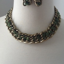 Woven In Olive Necklace Set