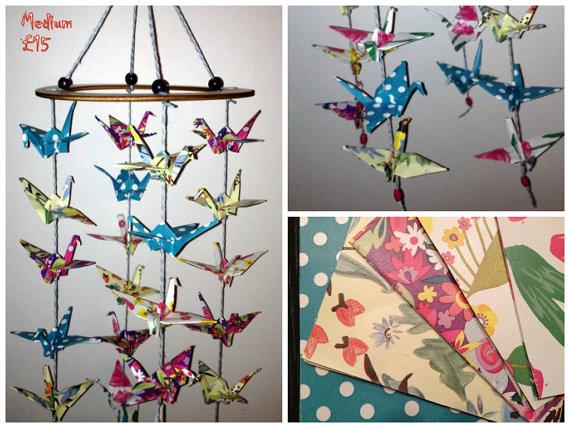 Beautiful medium colourful crane mobile with flowers mintbabystore beautiful medium colourful crane mobile with flowers mightylinksfo
