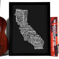 Image of Cities Of California Typography Collage, 8 x 10