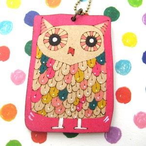 Ink on Wood Owl Bird Animal Necklace in Bright Pink