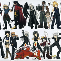Stickers - Final Fantasy VII: Advent Children Set of 16 (Fanart)