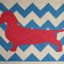 Mod Dachshund Pillow Canvas on 13 Mesh